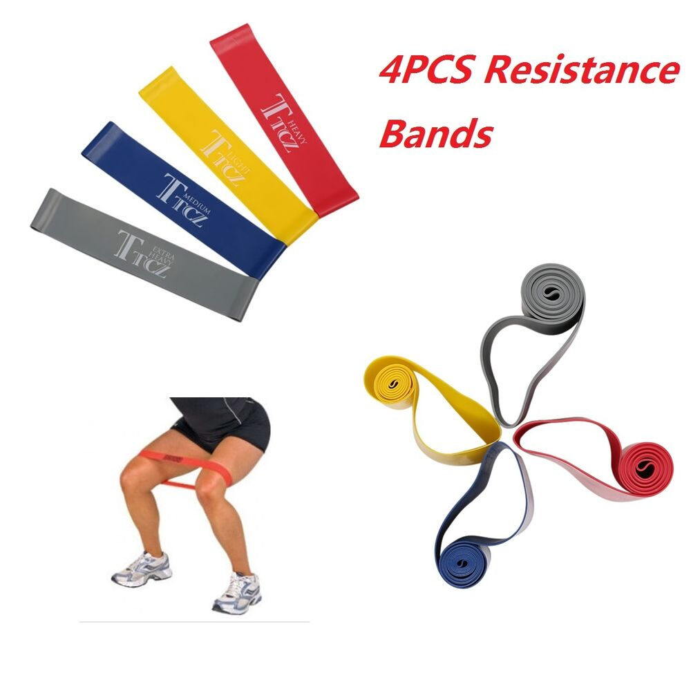 Exercise Rubber Bands Green: 4pcs Resistance Loop Band Exercise Yoga Bands Rubber