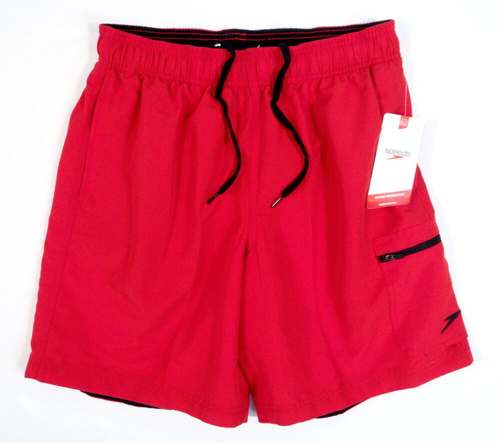Speedo Red Brief Lined Water Shorts Swim Trunks Mens NWT ...