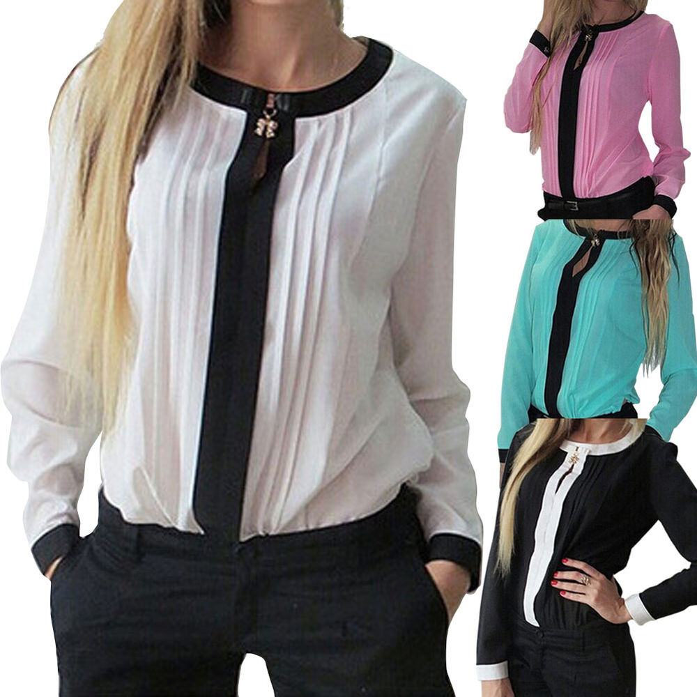 Women Business Wear Women Fashion Woman Top Casual Shirts Chiffon Blouse | EBay
