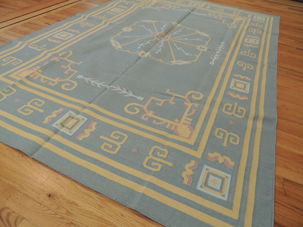 Kilim Reversible Cotton Area Rug 6x9 Geometric Design Blue