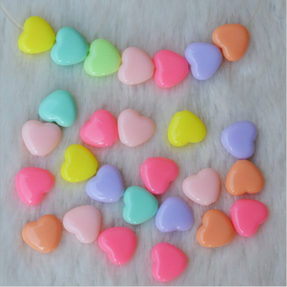 Kid Craft Beads: 100pcs Mix Color Jewelry Beads 12mm Heart For Kids Crafts