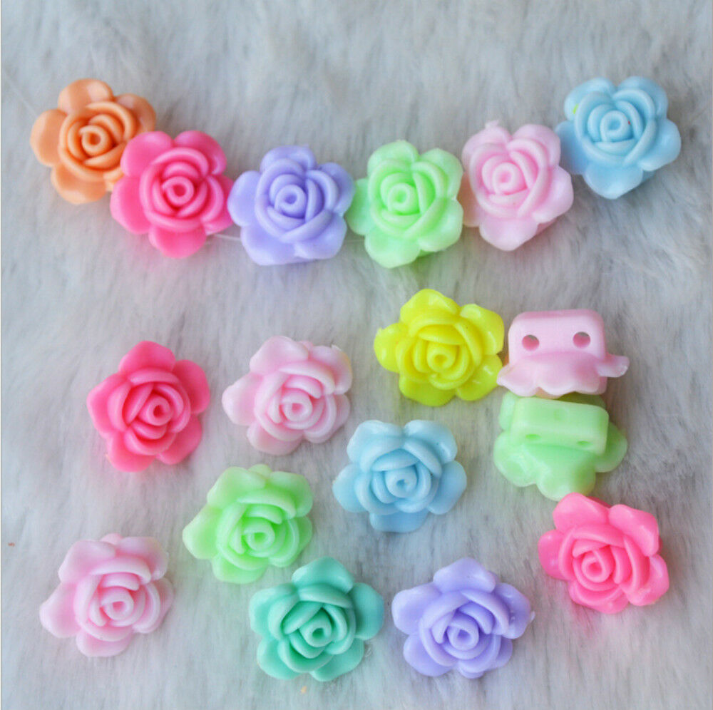 Kid Craft Beads: 100pc Mix Color Plastic Beads 18mm Rose Flower For Kids