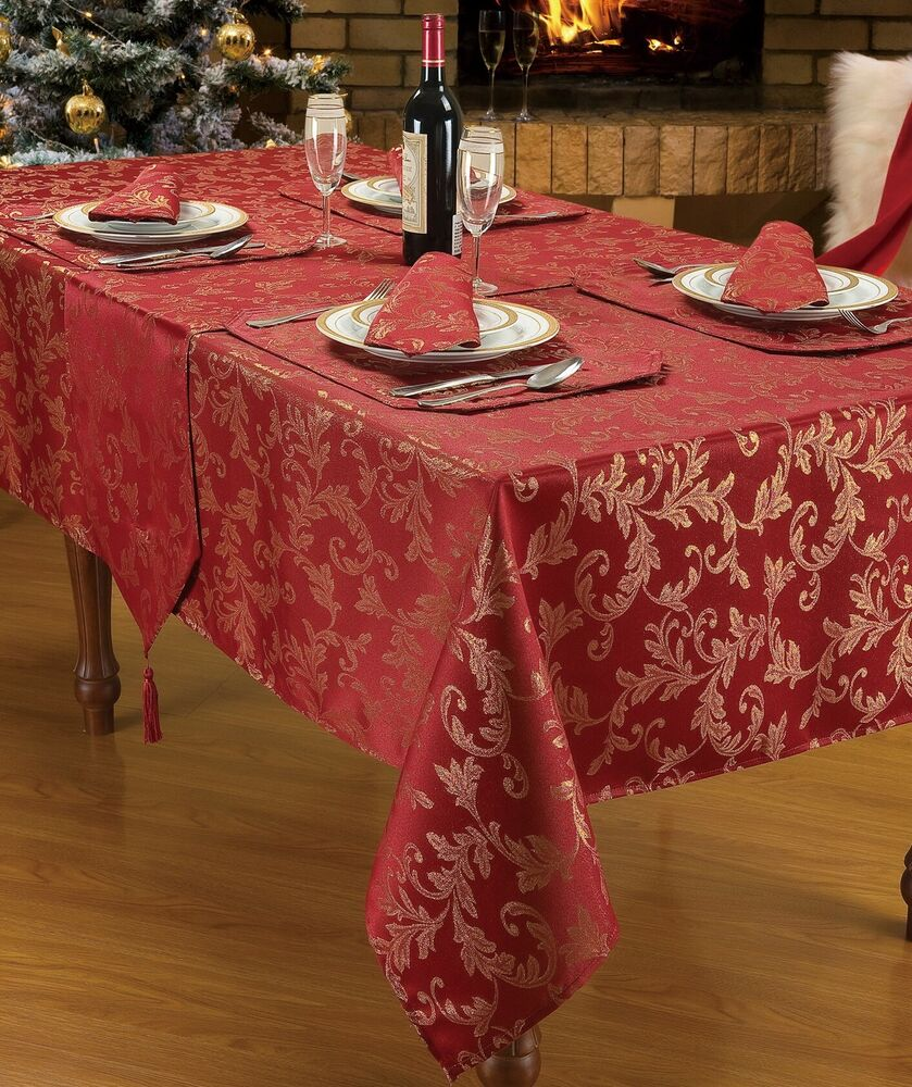 Burgundy Jacquard Stylish Design Christmas Dinner Party