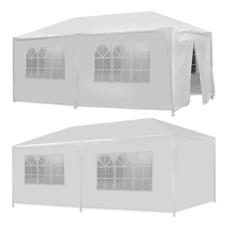 segawe 10 x 20 white wedding party tent gazebo canopy with 6 removable sidewalls ebay. Black Bedroom Furniture Sets. Home Design Ideas