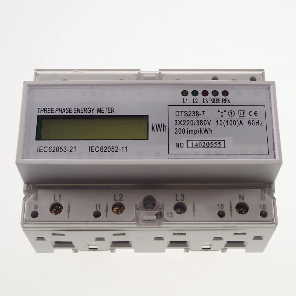 10a to 100a din rail 220 380vac 60hz 3 phase watt hour kwh energy meter ebay. Black Bedroom Furniture Sets. Home Design Ideas