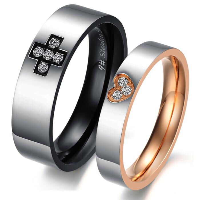 black gold cross heart stainless steel wedding band couple. Black Bedroom Furniture Sets. Home Design Ideas