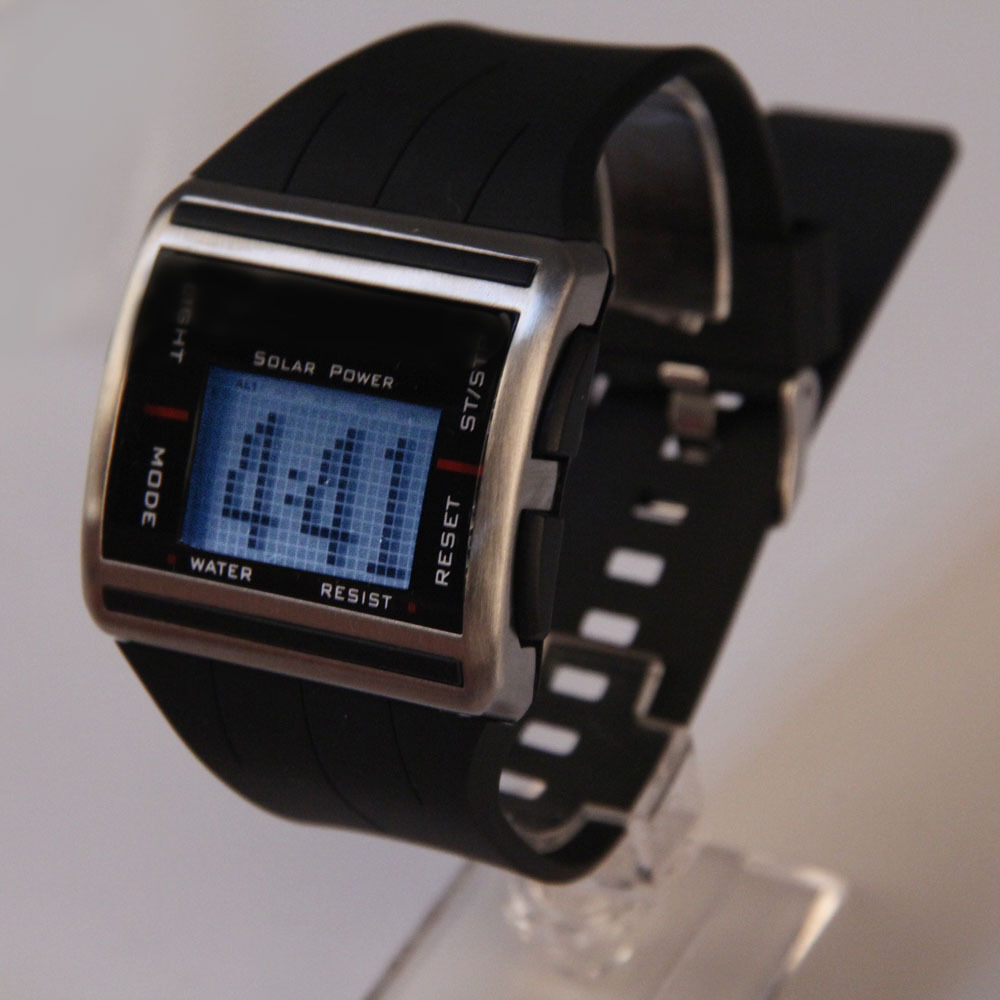 solar power sports wrist scrolling screen digital