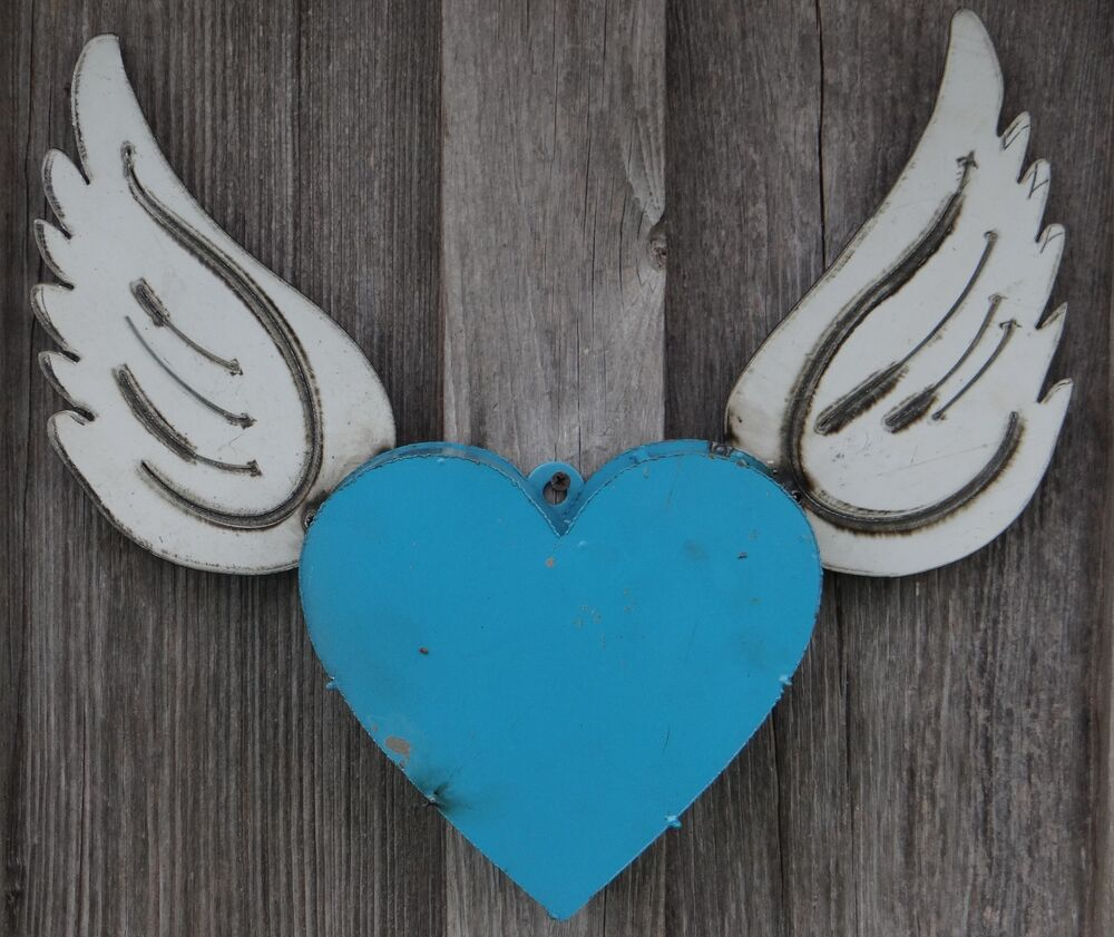 mexican metal art 17 heart w angel wings wall decor recycled metal ebay. Black Bedroom Furniture Sets. Home Design Ideas