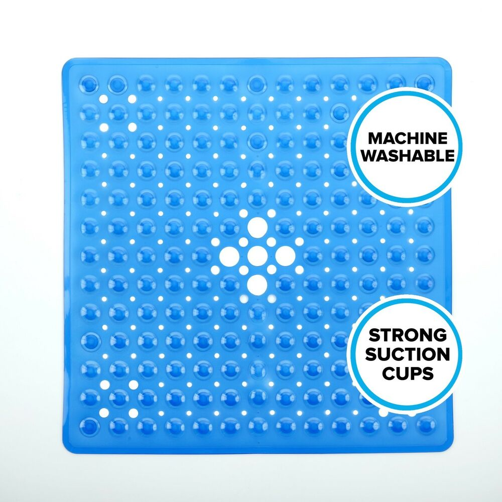 Square Shower Mat 21 Quot W X 21 Quot L In Blue By Slipx Solutions