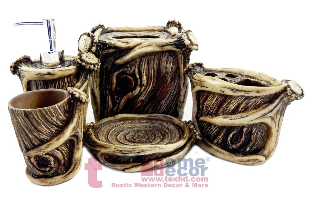 Antler bathroom accessory set 5 pieces faux wood look for Looking for bathroom accessories
