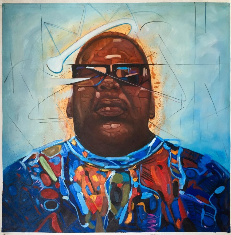 """32x32"""" Biggie Smalls Notorious BIG oil painting on canvas ... Tupac And Biggie Painting"""