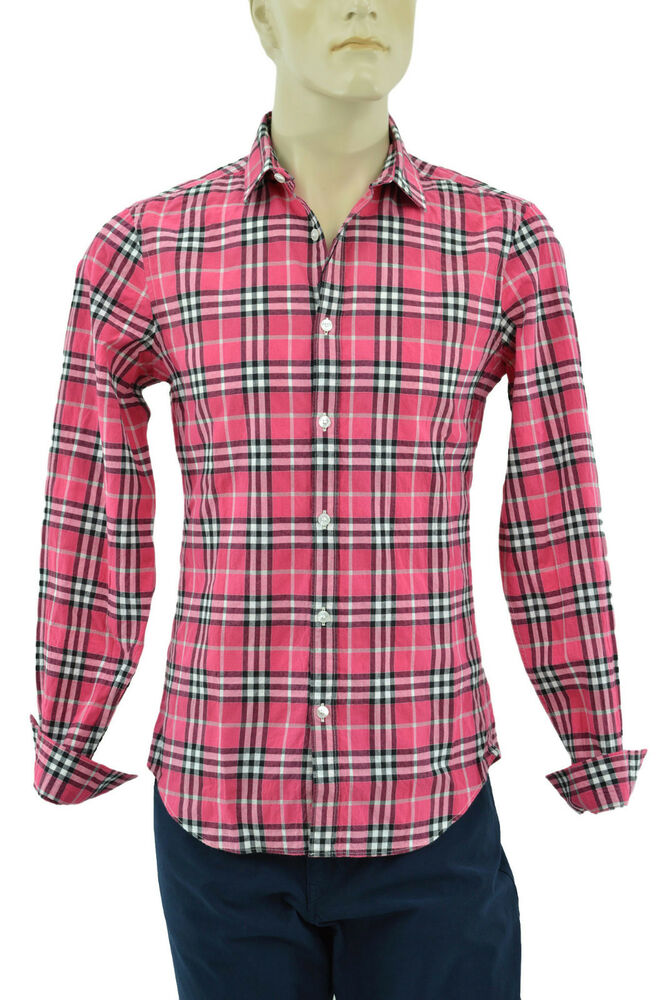 295 Burberry Brit Pink Check Casual Dress Mens Shirt S