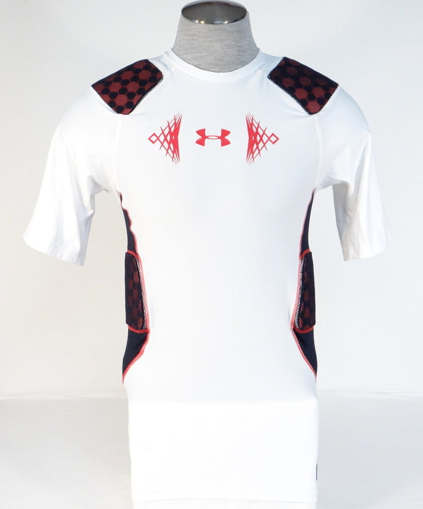 Under armour mpz stealth white padded compression football for Under armor football shirts