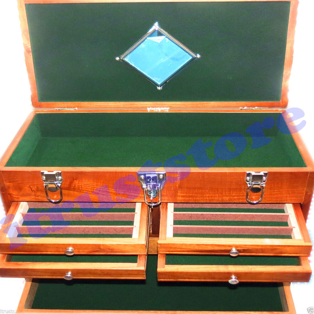 Solid Wooden Wood Sewing Jewelry Box Machinist Tool Chest
