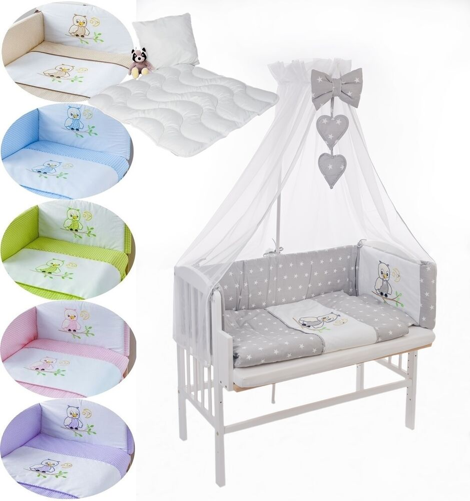 8tlg baby bettw sche himmelset nestchen 260 set f r beistellbett babywiege 40x90 ebay. Black Bedroom Furniture Sets. Home Design Ideas