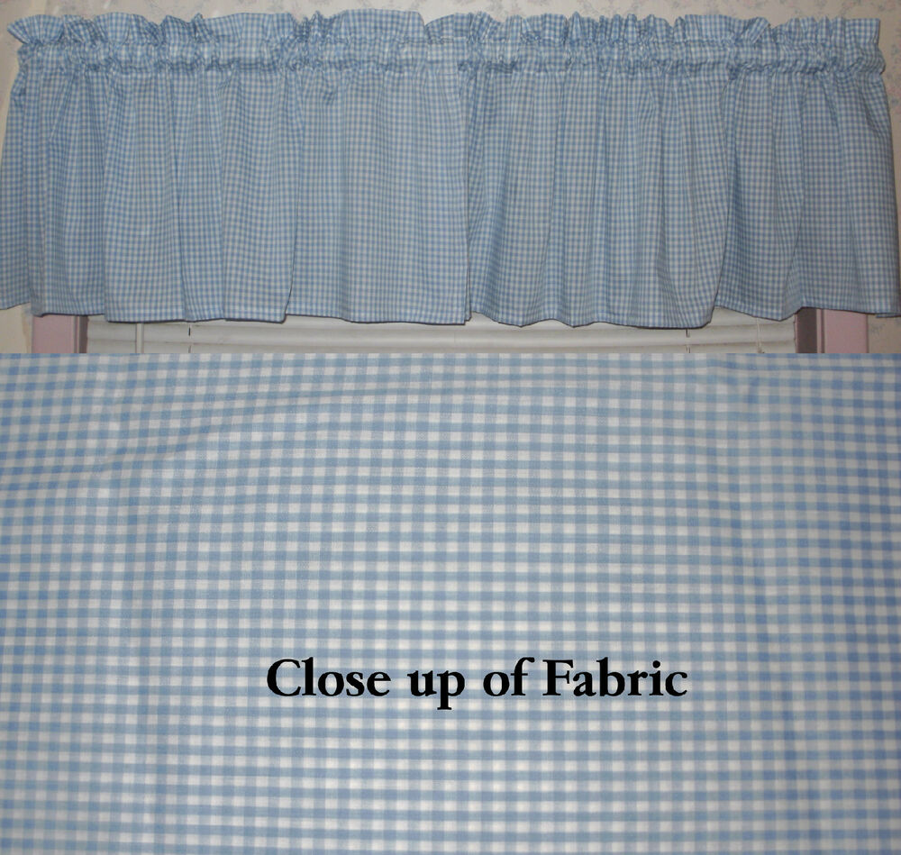 New Blue White Gingham Checkered Check Valance Curtain Country Kitchen Ebay