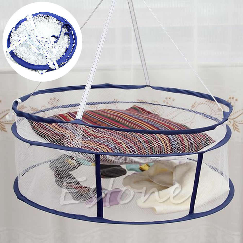drying rack folding hanging clothes laundry sweater basket dryer 2 layers net ebay. Black Bedroom Furniture Sets. Home Design Ideas