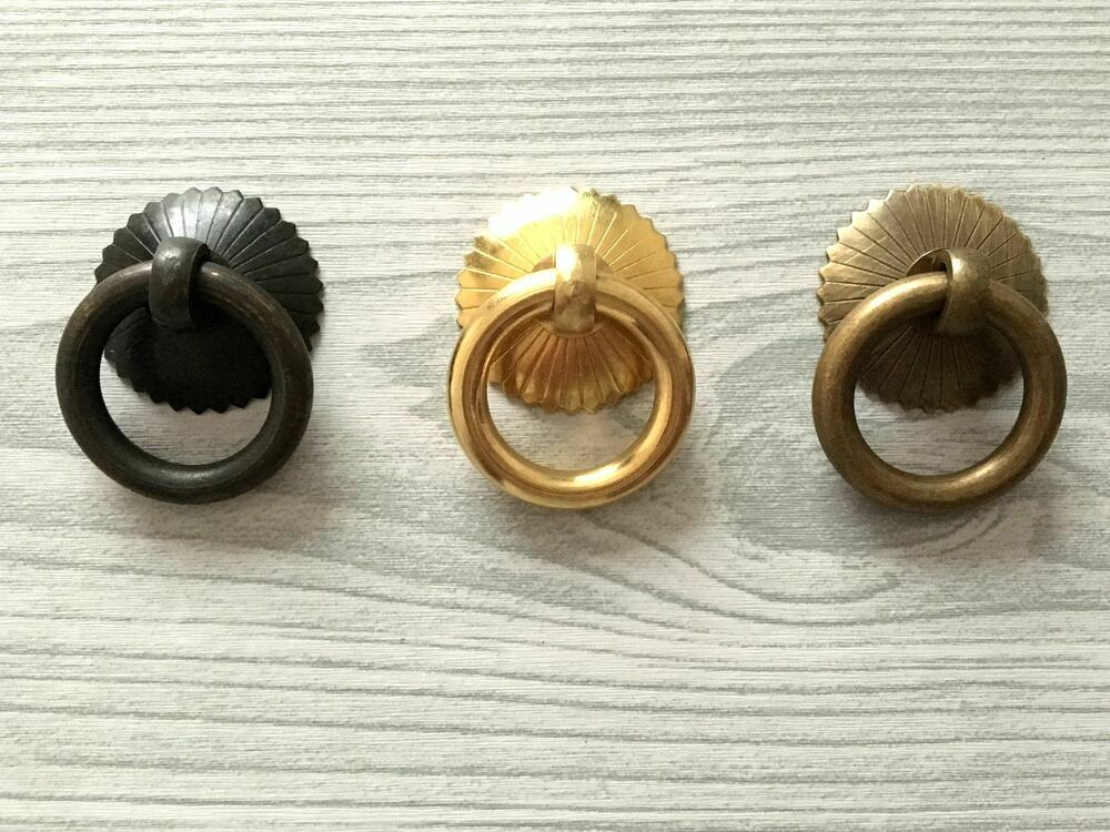 Small vintage style drop ring antique brass black pull for Small cabinet pulls