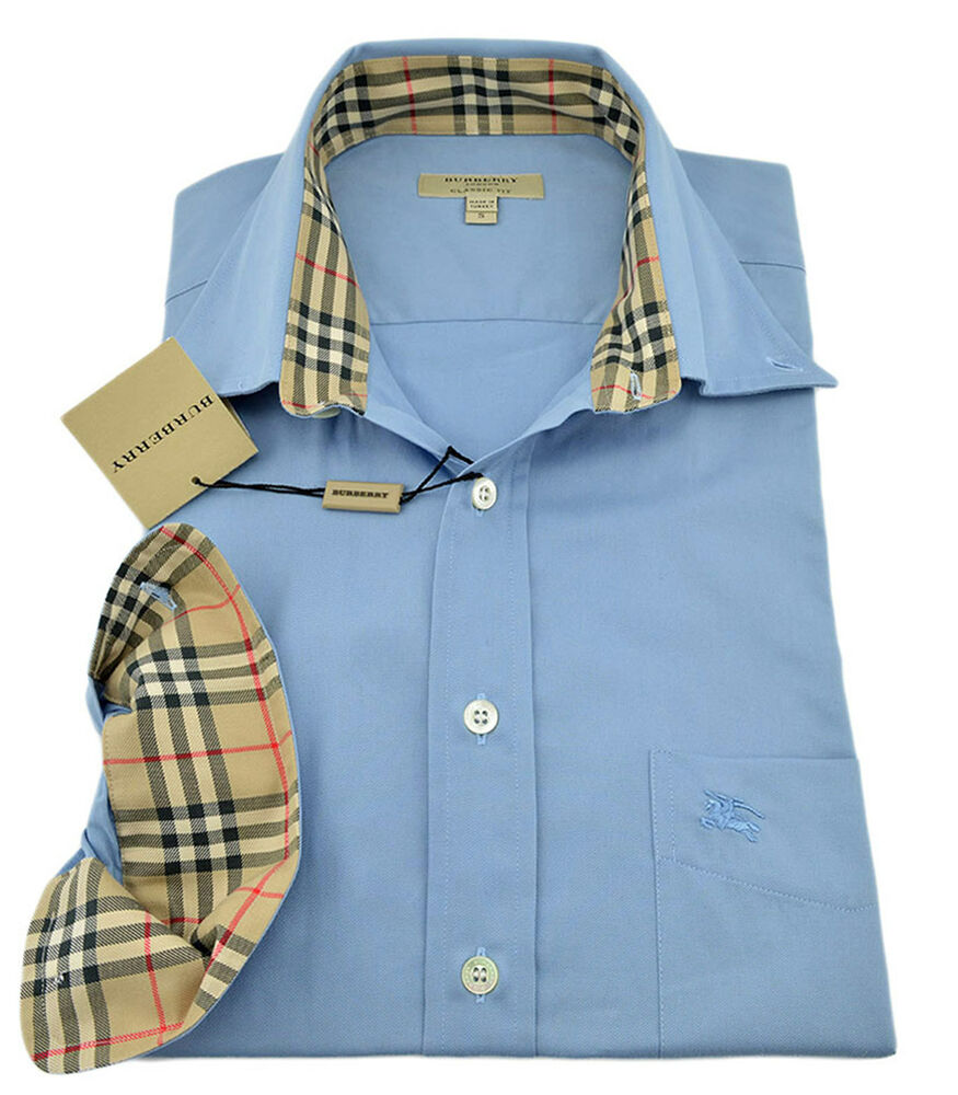 285 Burberry London Pale Blue Casual Dress Mens Shirt New