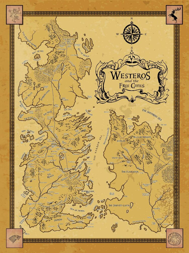 Dashing image within free printable map of westeros