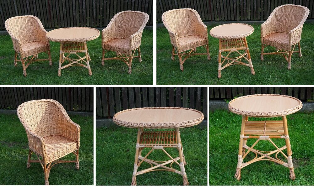 GARDEN FURNITURE SET CHAIRS TABLE OUTDOOR PATIO CONSERVATORY WICKER NATURAL E