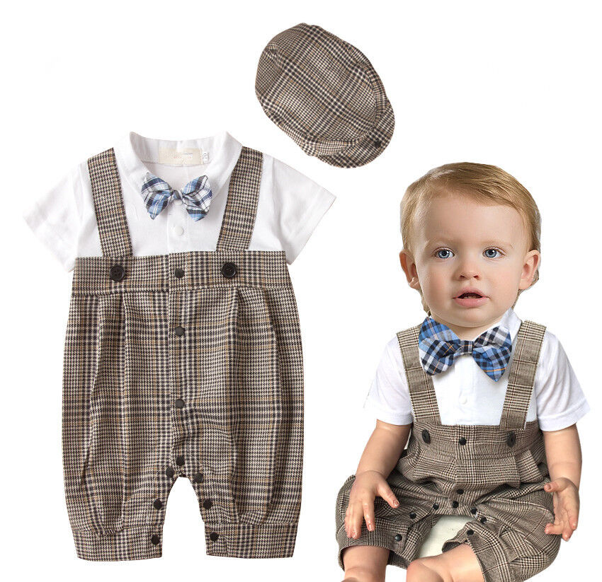 2pcs kids baby boy costume peaked cap hat romper bodysuit outfit clothes 0 18m ebay. Black Bedroom Furniture Sets. Home Design Ideas