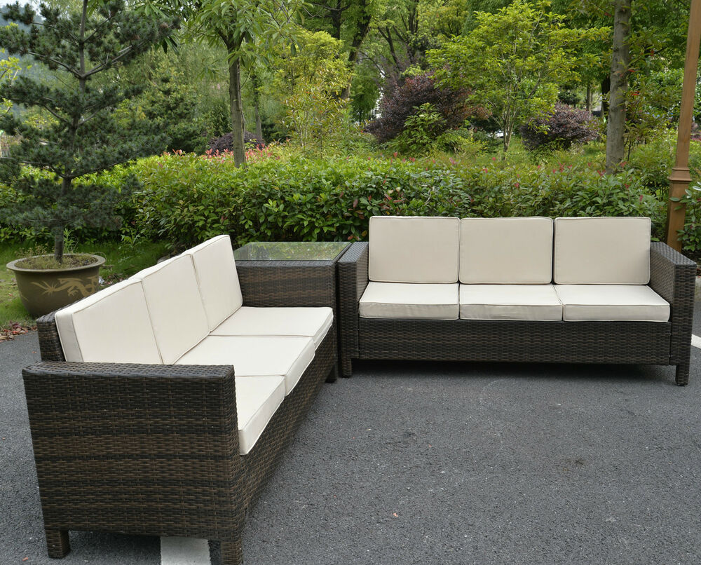 Rattan garden furniture set sofa conservatory outdoor for Outdoor wicker furniture