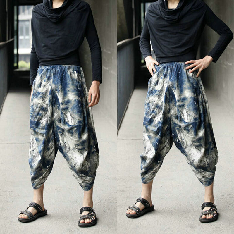 Men S Japanese Style Boho Casual Loose Fit Harem Baggy