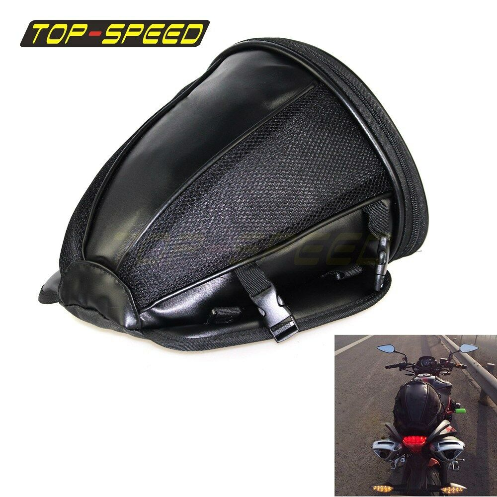 71cd800ab1b0 Details about Black Seat Rear Storage Motorcycle Bag Motorcycle Package Saddle  Bag New
