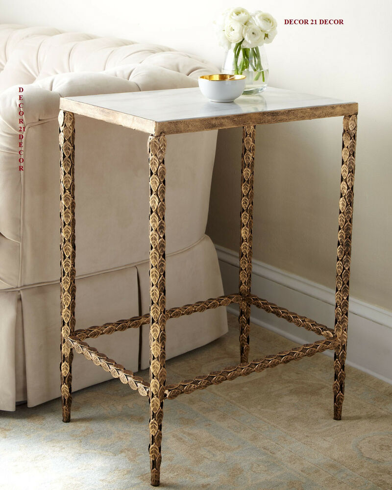 MARBLE TOP HAND APPLIQUED SIDE TABLE HORCHOW /NEIMAN