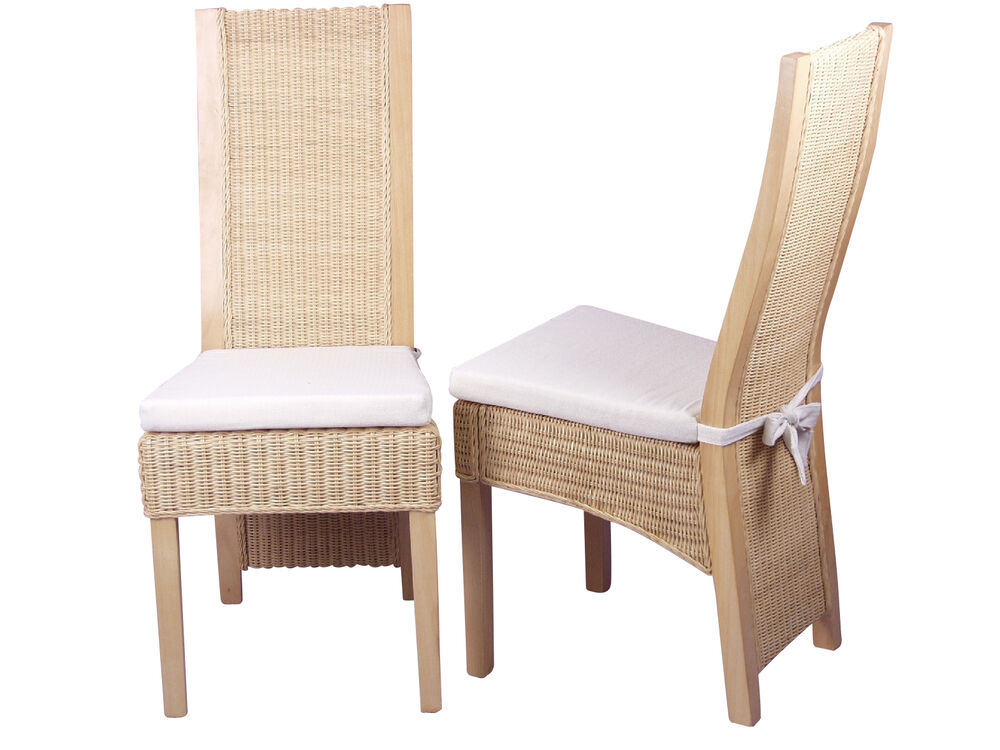 2er set rattansessel inkl kissen beige hell massivholz pinie rattan rattanstuhl ebay. Black Bedroom Furniture Sets. Home Design Ideas