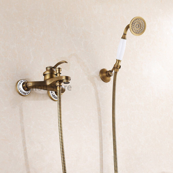 Antique brass bathroom bathtub faucet wall mount mixer tap with handheld shower ebay Antique brass faucet bathroom