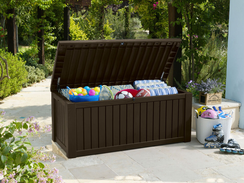 keter jumbo xxl kissenbox sitzbank holzoptik wasserdicht auflagenbox gartenbox ebay. Black Bedroom Furniture Sets. Home Design Ideas