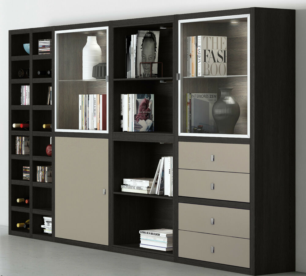 toro regalsystem b cherregal mit t ren wohnwand viele farben individuell planen ebay. Black Bedroom Furniture Sets. Home Design Ideas
