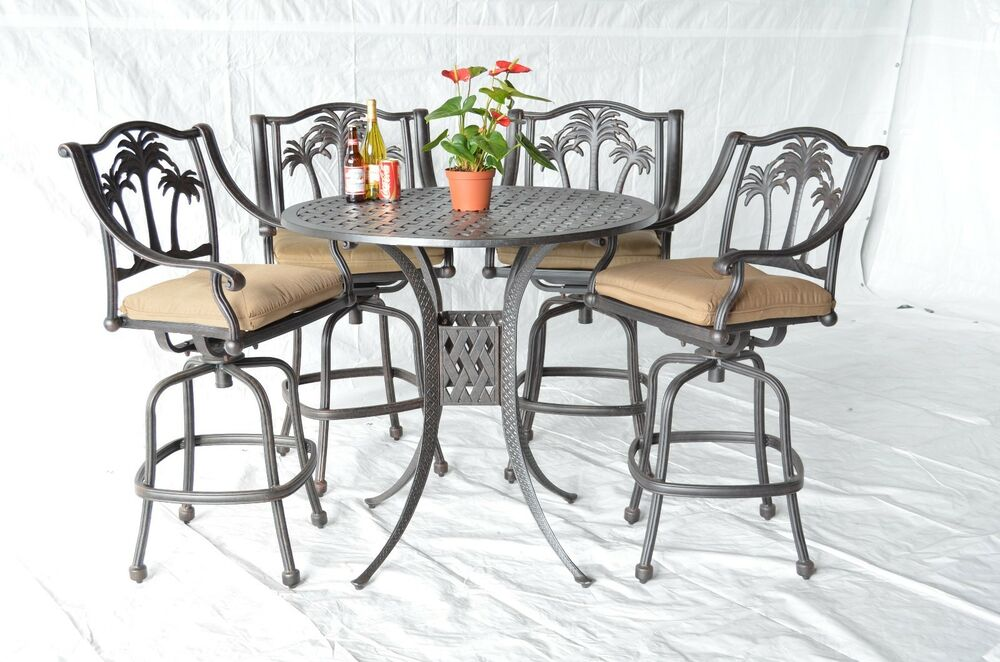 Palm Tree Outdoor Patio Furniture 5pc Set Bar Table 42