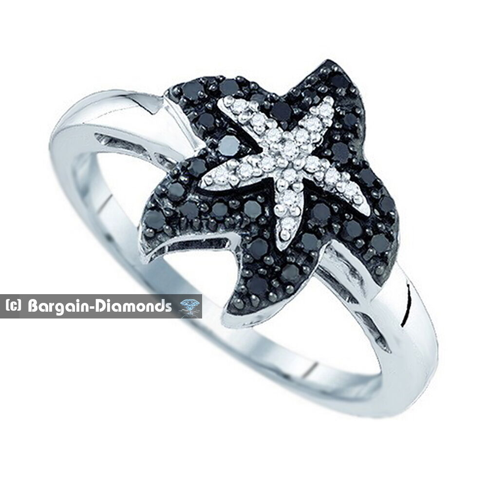 black 22 carat starfish 10k white gold ring