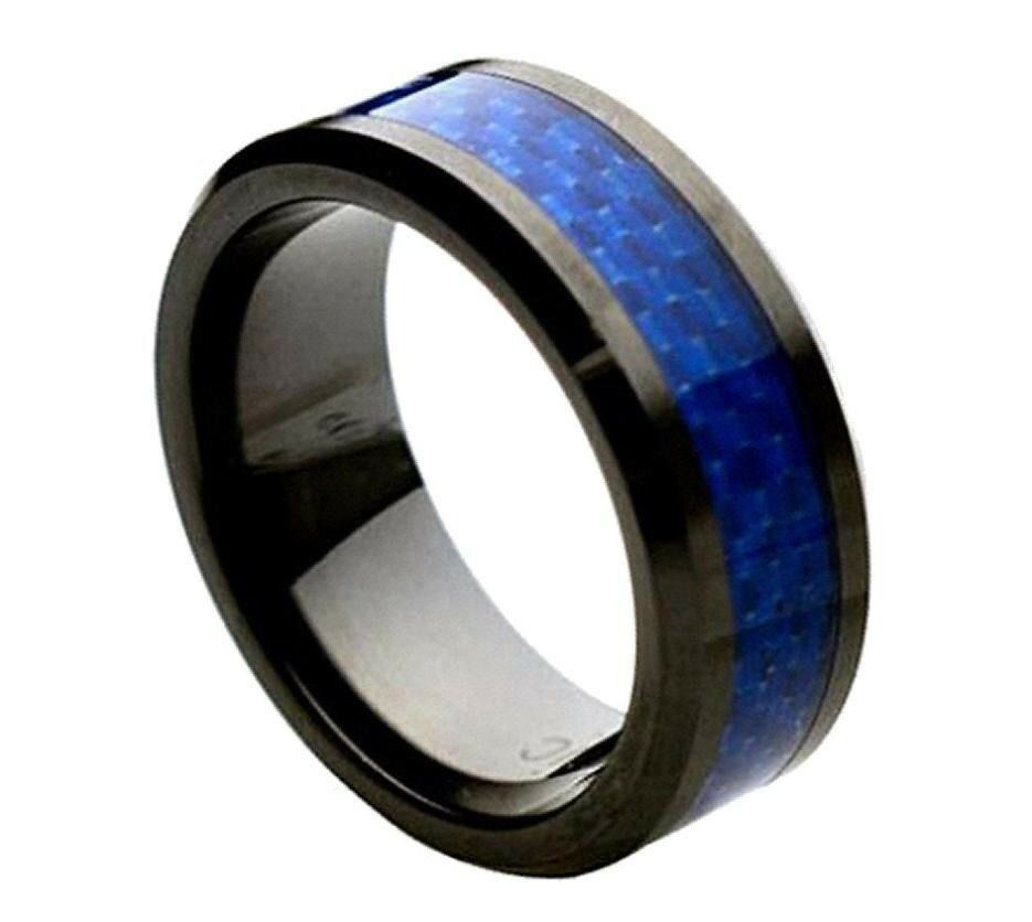 Comfort fit blue carbon fiber black ceramic 8mm beveled for Carbon fibre wedding ring