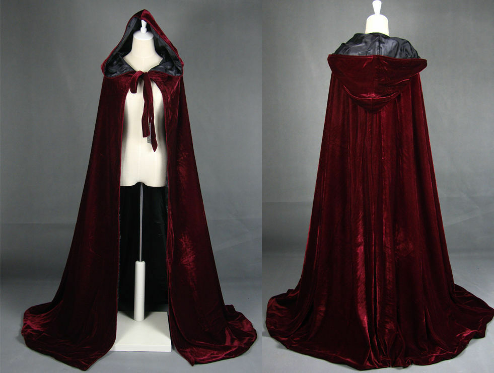 wine black velvet hooded cloak medieval cape witchcraft wicca robe larp gothic ebay. Black Bedroom Furniture Sets. Home Design Ideas