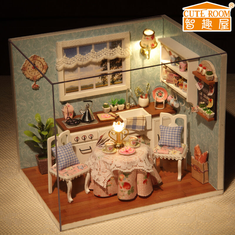 Diy Furniture Room Mini Box Dollhouse Doll House Miniature: New Dollhouse Miniature DIY Kit With Cover And LED Wood