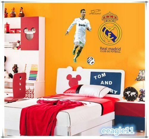 Madrid cristiano ronaldo logo set wall sticker mural play for Cristiano ronaldo wall mural
