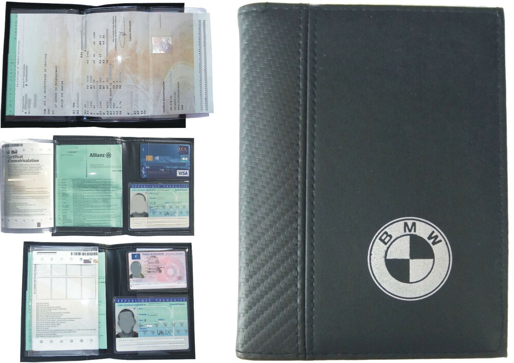 pochette etui porte carte grise bmw permis conduire assurance ebay. Black Bedroom Furniture Sets. Home Design Ideas
