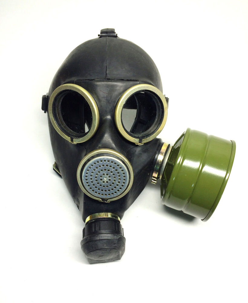 Soviet Russian Black Gas Mask Gp 7 Size 2y Medium 2 With