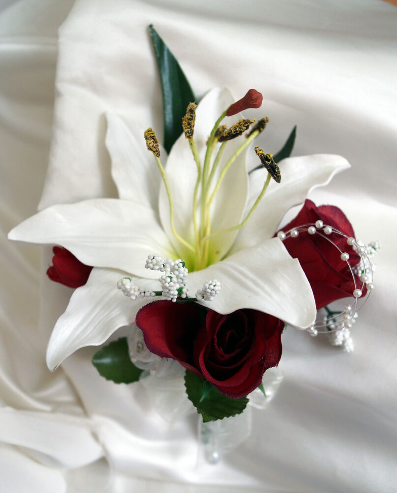 Pin Corsage Wedding Flowers Real Touch Lily Ivory Burgundy