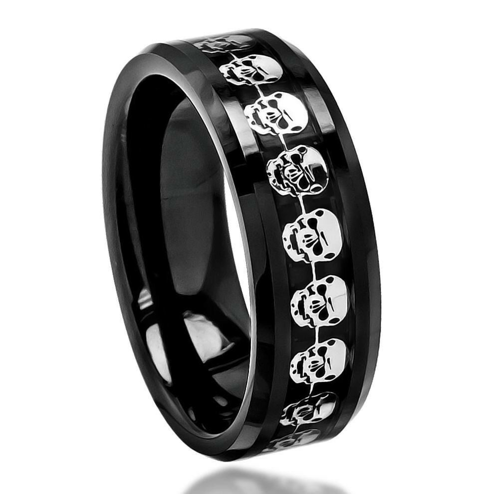 wedding band ring black carbon fiber skull symbol inlay beveled edge ceramic 8421