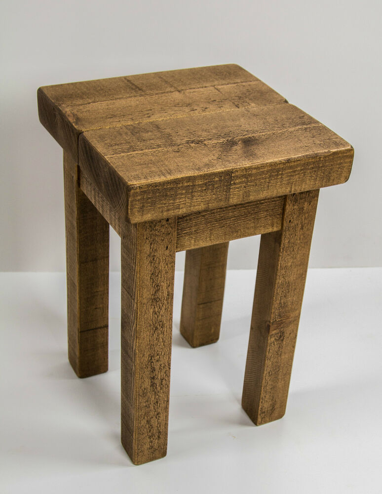 Rustic Wood Side Table ~ Solid rustic wooden side hall table bedside