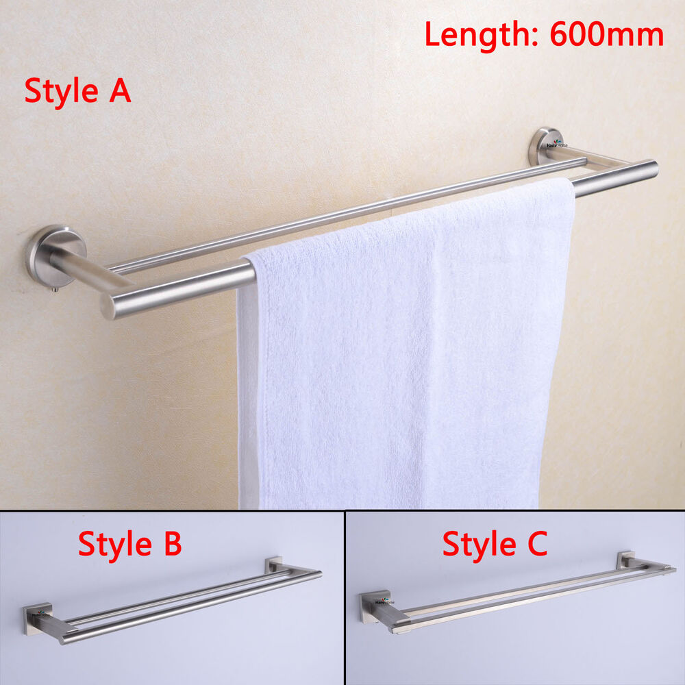 Bathroom 304 Stainless Steel Towel Rail Rack Double Pole Brushed Nickel EBay
