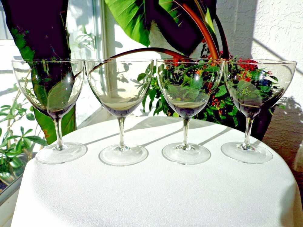Set of 4 high quality crystal smoke wine stemware glasses for Thin stem wine glasses