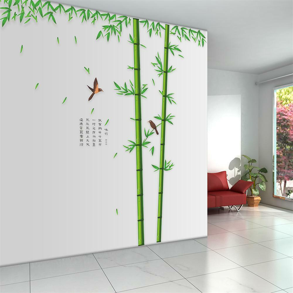 Removable huge bamboo mural poem art wall sticker decal for Stickers para pared decorativos