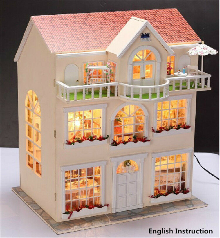 Wooden Miniature Dolls House Doll House Furniture Diy Kit W Led Large Villa Ebay
