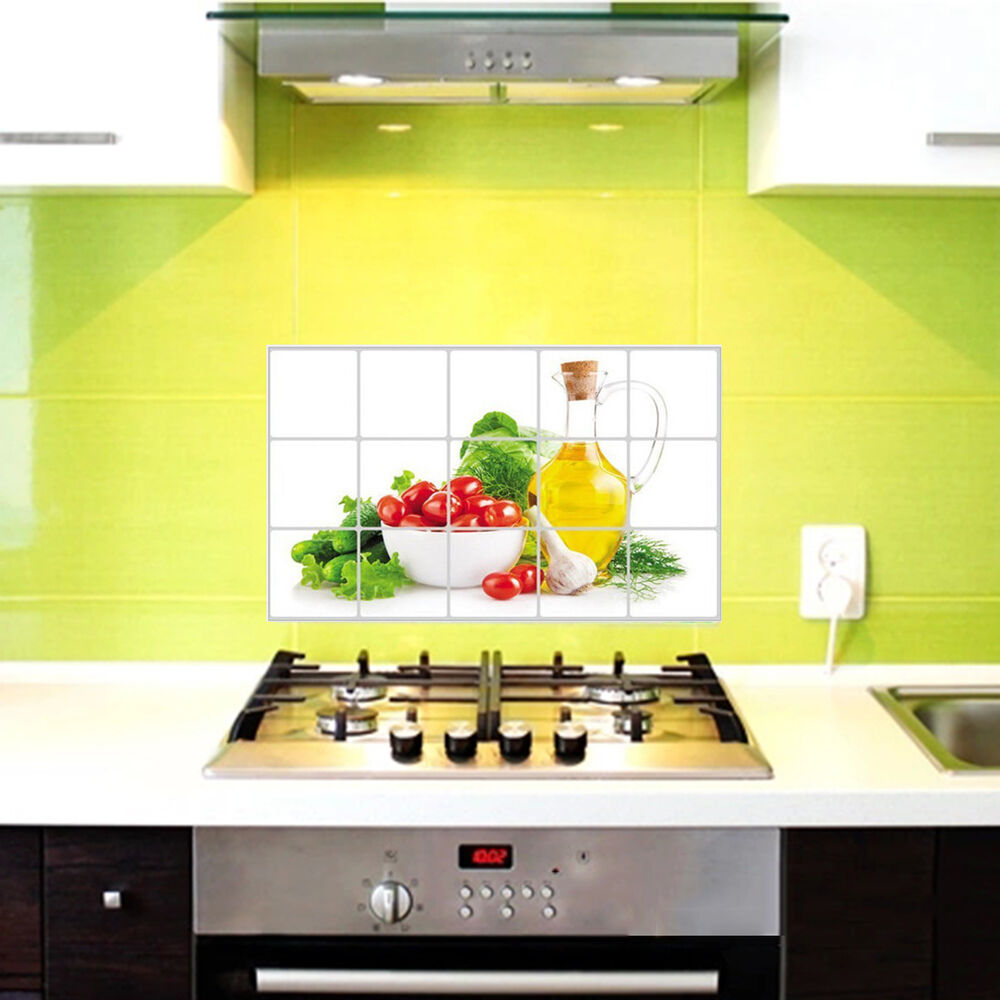 Aluminum foil fruits wall sticker diy oil proof kitchen for 1 room kitchen decoration